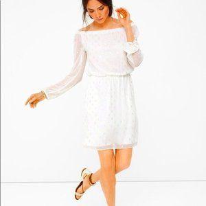 WHBM Boho Jacquard Gold White Off Shoulder Dress L